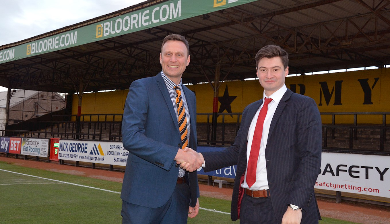 Nick Fairbairn, Cambridge United's Head of Partnerships and James Blair, Sponsorship Manager of Bloor International Enterprises.