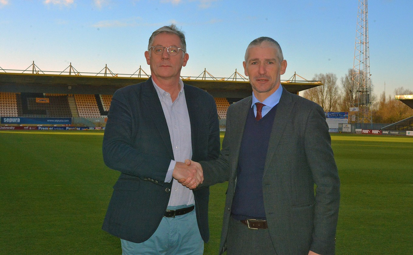 Shaun Grady of New Community Sponsor AstraZeneca and Jez George Cambridge United CEO